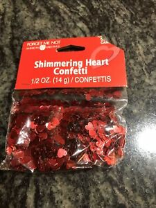 1/2 Ounce American Greetings Shimmering Red Heart Confetti
