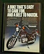 1982 Framed Kawasaki 440 LTD Motorcycle Ad Vintage Color Photo Print Original