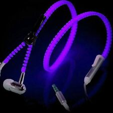 Glow Zipper Headphone Earphone Headset 3.5mm In-Ear Luminous Headphones Earbud