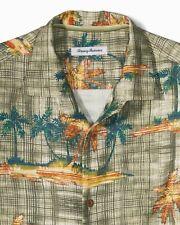 Tommy Bahama size LARGE Green Zama Button Up Short Sleeve Silk Shirt NEW NWT