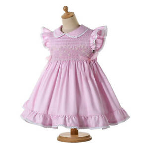 Romany Baby Girls Smocked Dresses with Pants Embroidered Spanish Clothes Pink