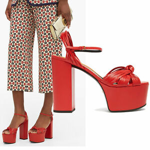GUCCI SHOES CRAWFORD KNOTTED RED LEATHER PLATFORM SANDALS $1,100 sz 37 7