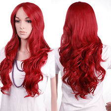 Colorful Cosplay Costume Wavy Full Wig Ombre Two Tone Synthetic Wigs With Bangs