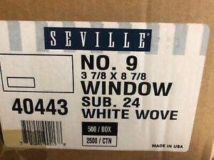 40443 SEVILLE #9 WINDOW SUB 24 WHITE WOVE ENVELOPES CASE 2500