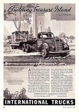 """1939 International Semi Truck art """"Building Treasure Island"""" vintage print ad"""