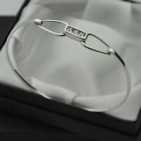 White CZ Set Opening Panel Bangle Bracelet in 925 Sterling Silver