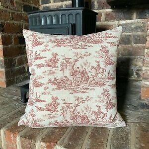 69. Red Toile De Jouy Handmade LINEN Cotton Cushion Cover