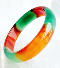 Pretty Genuine Asia Red/Green Natural Agate Jade Bangle Bracelet inner size 58mm