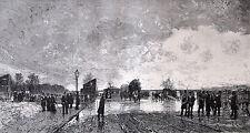 Gravure d'après Luigi Loir: UN COIN DE BERCY PENDANT L'INNONDATION -1879, Lepère