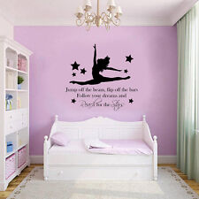 Gymnast Gymnastic Girls Bedroom Quote Vinyl Wall Art Sticker Decal