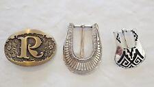 Lot 3 Older Western Cowboy Style Belt Buckles-Men's Jewelry- 1 Nocoma-1Solid Bra