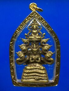 Buddha on God of Naga Statue Gold Micron Plated Pendant Talisman Thai Amulet