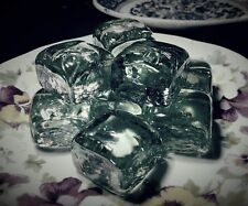 10 Glass Ice Cubes, For Use Or Decor, Clear, Clean, Realistic, Ships From Usa