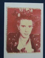 handmade christmas card JOHNNY ROTTEN / LYDON & HOLLY punk rock music , red