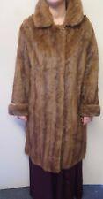 Vintage Genuine Mid Brown European Mink Fur long coat M UK 14 Euro 42