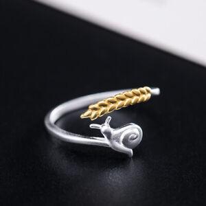 I04 Ring Schnecke mit goldener Kornähre Silber 925 Gr. 17 - 18 verstellbar