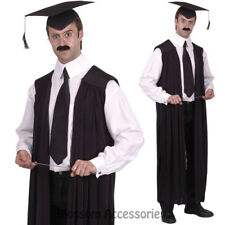 CL439 Mens Teachers Gown Graduation Robe School Judge Lawyer Fancy Dress Costume