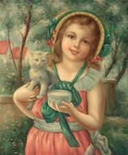 More details for young girl with a kitten, 24