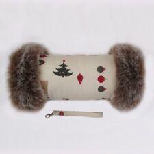 Festive Christmas Luxury Faux Fur Trimmed Winter Hand Muff Warmer Gloves