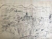 Jo von Kalckreuth 1912-1984 Federzeichnung Landschaft Straßburg 35,5 x 49 cm