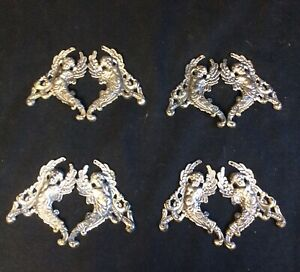 4 Antique 19th C French Neoclassical Silver Plated Angel  Furniture Mounts