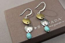 Silpada Sterling Silver Brass Turquoise Bead Three Disc Dangle Earrings W1817