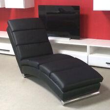 Polsterliege Liegesessel Relaxliege Chaiselongue schwarz mit Gurtunterfederung