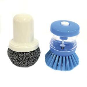 Kitchen Refillable Dish Soap Dispensing Brush & Scouring Scrub Pad Cleaning Set