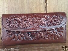 Mexican Tooled leather ladies wallet credit card wallet, clutch purse floral