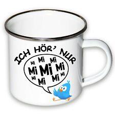 Ich hör' nur Mimimi Kaffeetasse Emaille Geschenk Beaker Camping Edelstahlrand