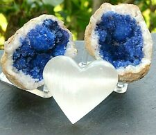 Blue Geode Pair W/Stands Crystal Quartz Gemstone Specimen Dyed Morocco/S. Heart