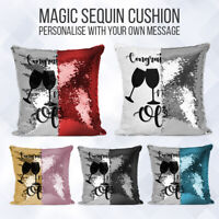 Personalised Wedding Gift Sequin Cushion | Message Reveal | Pillow Case & Insert