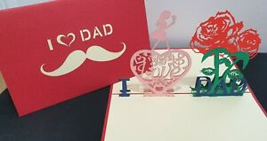 """3D Pop up Card. """"I LOVE DAD"""".(Father's Day, Father Birthday....)"""