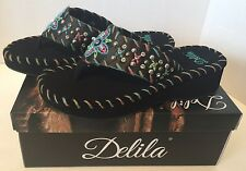Montana West Delila Flip Flops 10M Wedge Heel Western Thong Sandals Casual