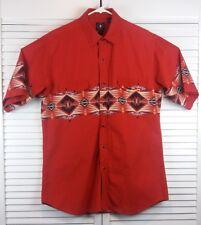Panhandle Slim Western Shirt Mens L Red Aztec Print Snap Button Flap Pocket