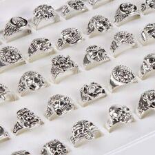 50pcs Silver Men's Gothic Biker Punk Rock Skull Jewellery Rings Wholesale Lots