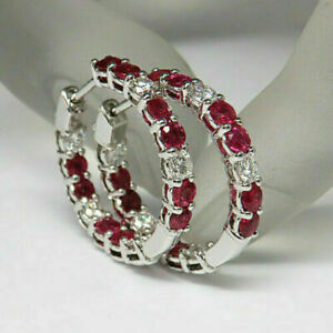 3Ct Round Cut Red Ruby Diamond Women Huggie Hoop Earrings 14K White Gold Finish