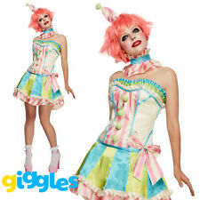Vintage Clown Costume Womens Ladies Halloween Circus Sexy Fancy Dress Outfit