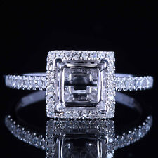 5.5MM PRINCESS 10K WHITE GOLD DIAMONDS SEMI MOUNT HALO ENGAGEMENT RING SETTING