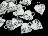 15 Pcs 17mm Tibetan Silver Paw Print Heart Pendants Charms Jewellery Beading M16