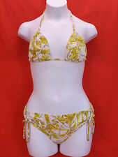 NWT GUCCI YELLOW WHITE FLORAL FLOWERS HALTER BIKINI TIE SIDE SWIMSUIT S ITALY