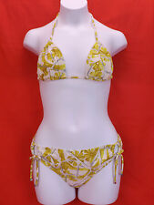 NWT GUCCI YELLOW WHITE FLORAL FLOWERS HALTER BIKINI TIE SIDE SWIMSUIT L ITALY