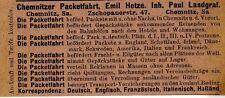 Emil Hetze CHEMNITZER PACKETFAHRT Historische Reklame von 1905
