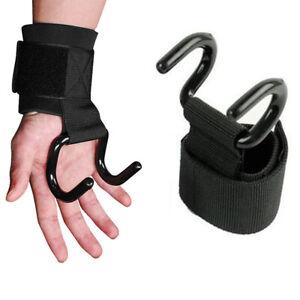 Unsex Gym  Weight Lifting Hand Bar Wrist Straps Strength Grip Training Hook
