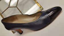 SALVATORE FERRAGAMO Vintage Blue/w Leather Classic Low Heels Shoes Size 10B NICE