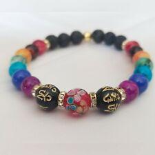 Lucky 7 Chakra Bracelet Crystals Healing Stones lava Beads red Murano Lucky
