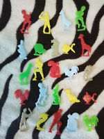24 Vintage 1950s Era Cracker Jack Prizes Animals and People Assorted Colors -B
