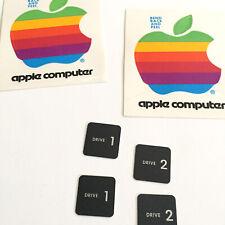 Vintage Apple Computer Rare Pair of Drive 1 & 2 Badges + 2 Rainbow logo Stickers
