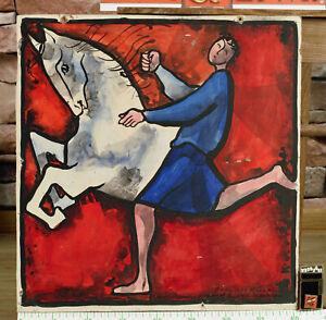 Hans Schilter 1918-1988 Gemälde von 1974 Reiter Pferd Kentaur Zentaur beschädigt