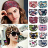 BOHO Wide Cotton Stretch Women Headband Turban Sports Yoga Knotted Hairband Wrap